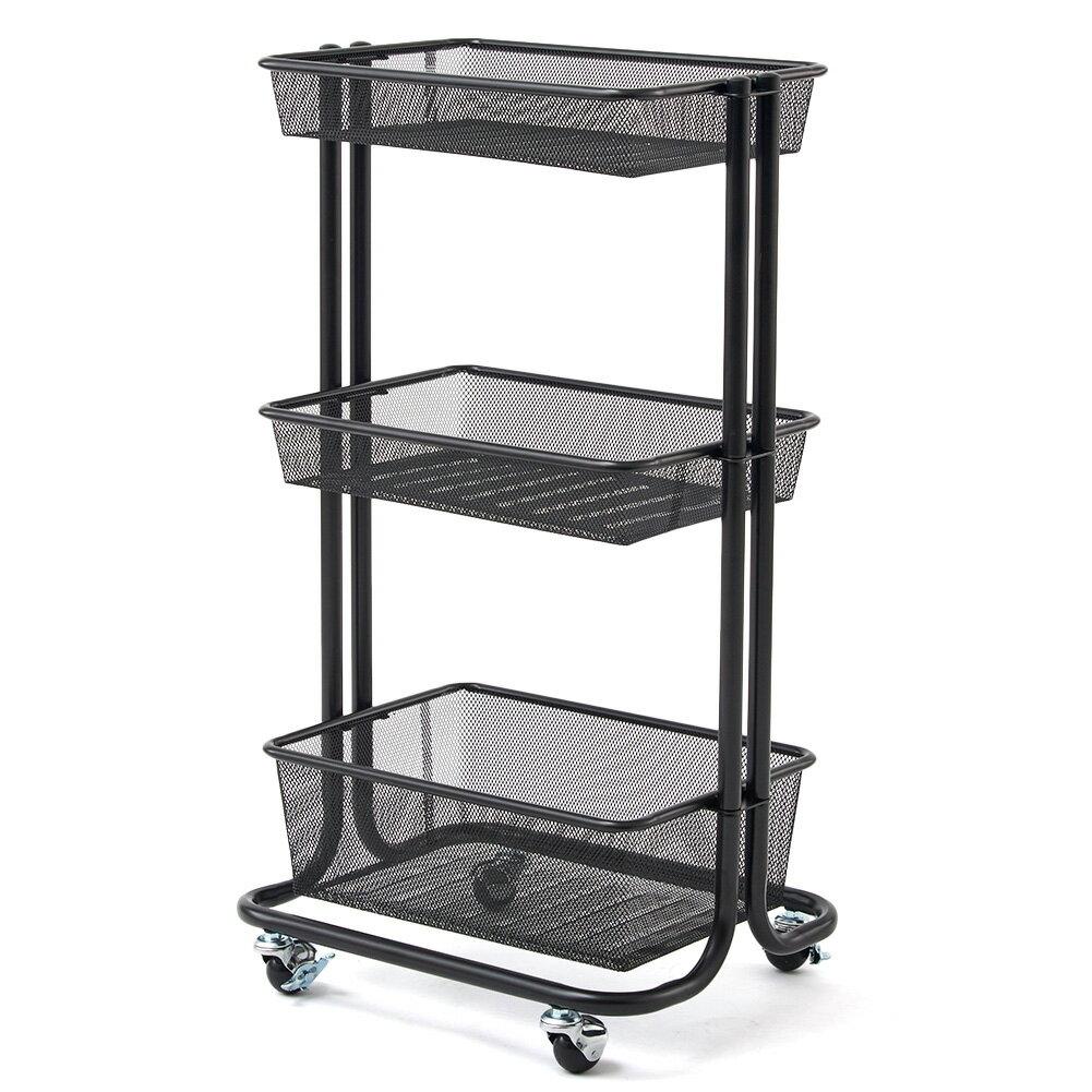 3 Tier Storage Organizer Standing Shelf, EZOWare Multifunction Metal Mesh Wire  Basket Rolling Utility