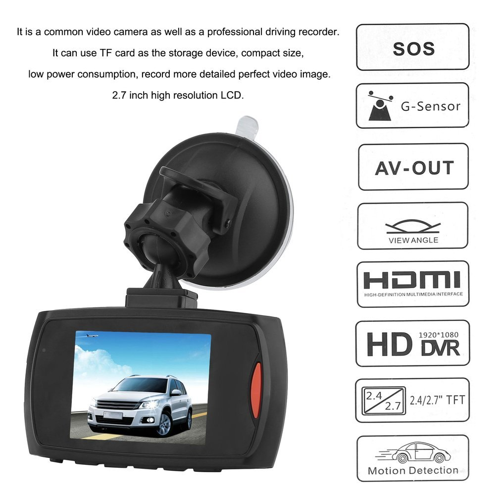 2 7inch LCD Night Vision HD 720P 1080P Car DVR Camera Dash Cam Video black