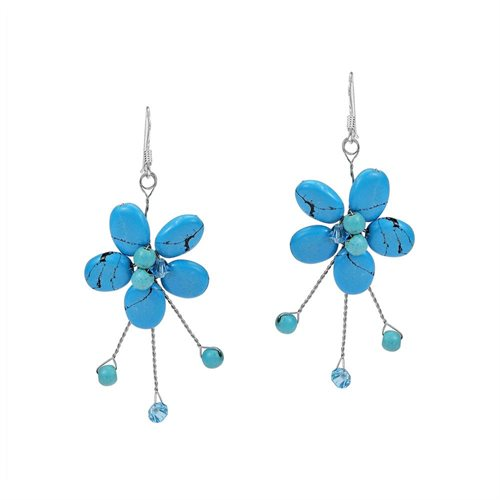 Sweet Turquoise Flower&Sticks Stone .925 Silver Earrings 0