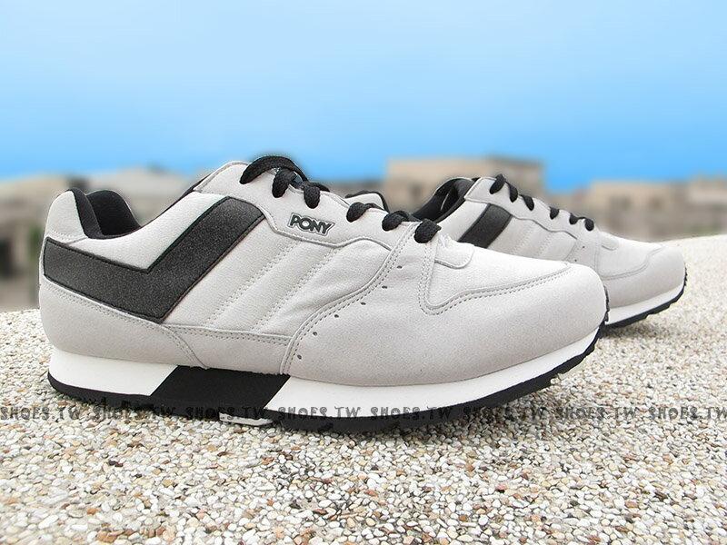 Shoestw【64M1SO65GR】PONY SOLA-V 復古慢跑鞋 內增高 灰黑 麂皮