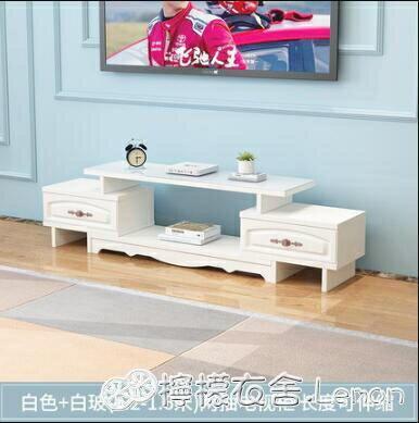 電視櫃電視櫃茶幾組合套裝簡約現代小戶型鋼化玻璃客廳實木色電視機地櫃【快速出貨】  創時代 新年春節送禮
