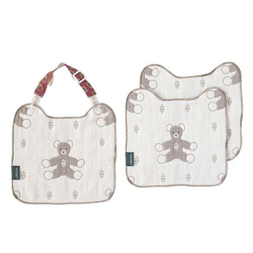 日本【Hoppetta】六層紗普羅旺斯熊手帕夾組(棕)-428615