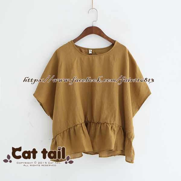《貓尾巴》LZ-03257復古文藝拼接荷葉邊短袖上衣(森林系日系棉麻文青清新)
