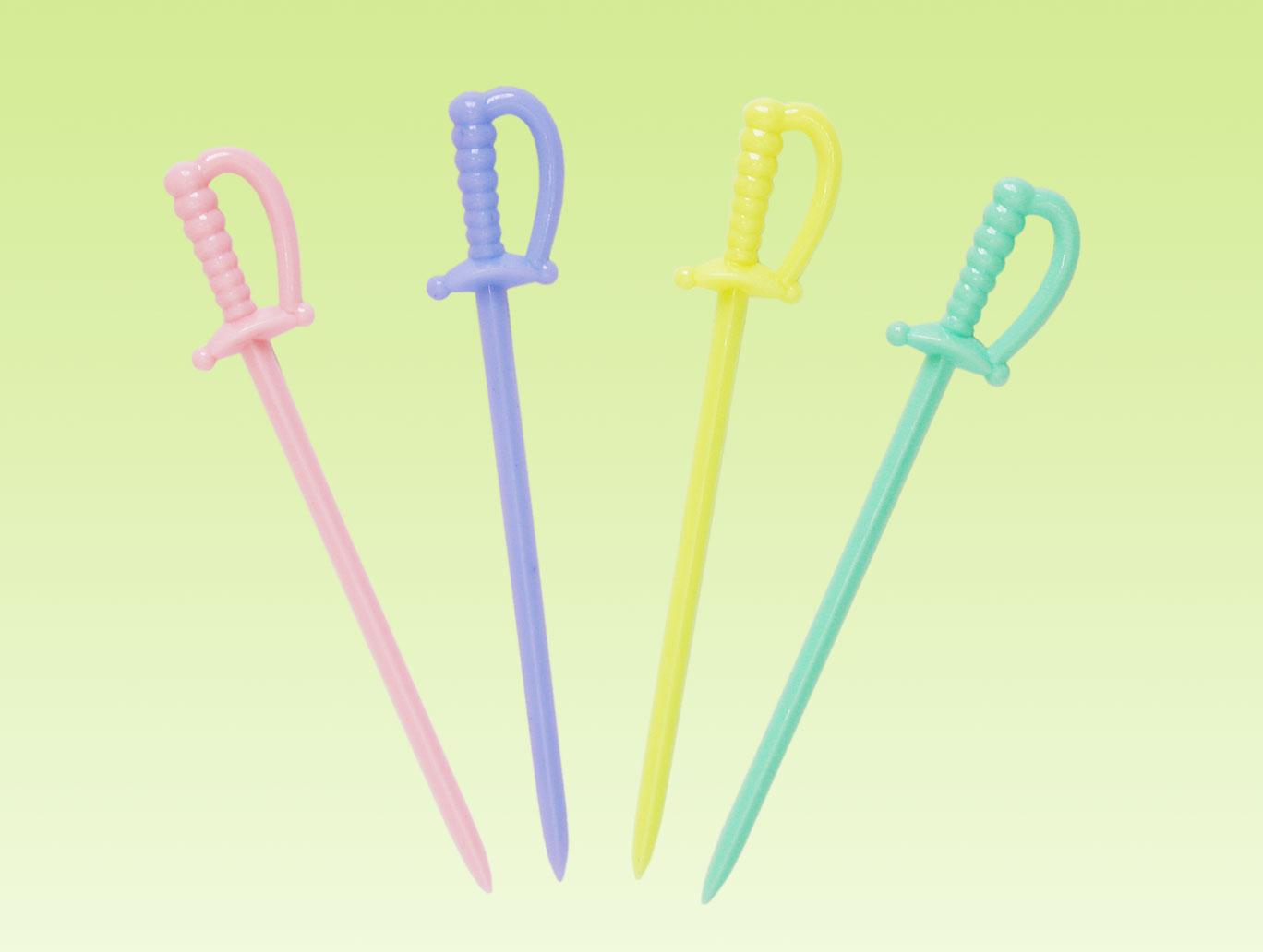 水果叉、水果針 D~5B08 劍形果針 ~ 300pcs 包(4色)