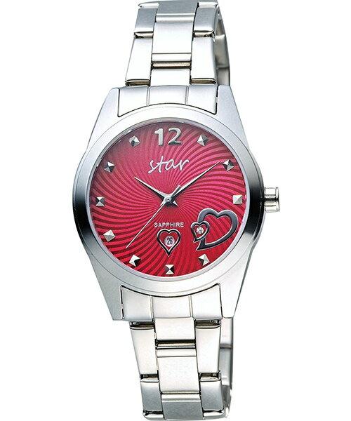 STAR時代錶 9T1603-161S-R 愛戀心時尚腕錶/紅面32mm
