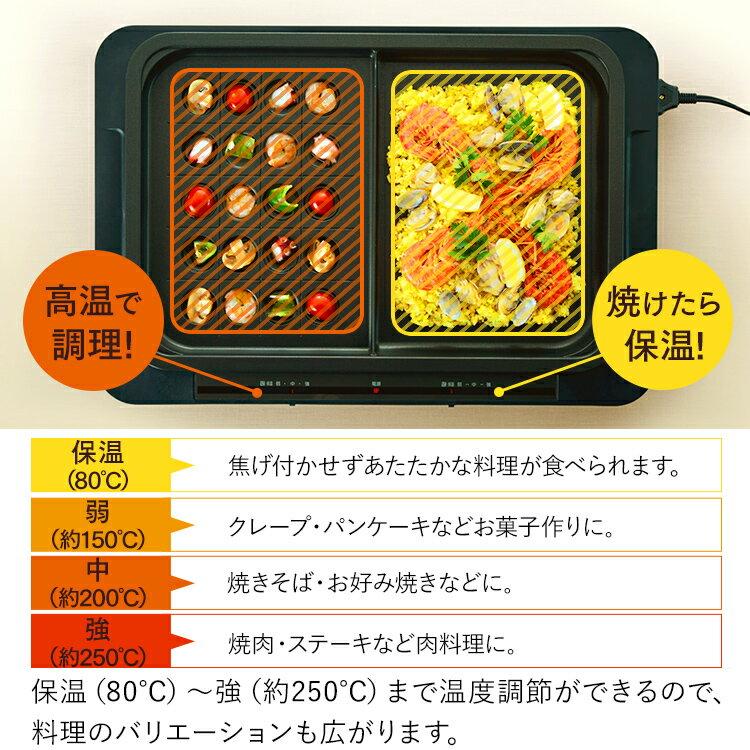 日本 IRIS OHYAMA  /  多功能電烤盤 左右獨立控溫 ( 附平盤+分隔盤 )  /  WHP-012。日本必買 日本樂天代購(12800) /  件件含運 6