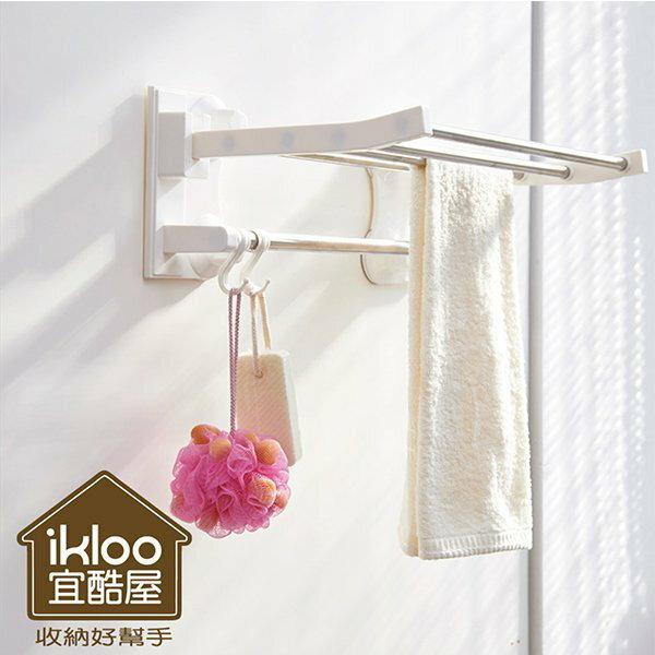 BO雜貨【YV5020】ikloo~不鏽鋼吸盤衛浴置物架 毛巾架 衣物掛架 浴室收納架 置物架 掛勾
