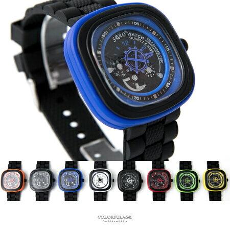 手錶 繽紛多色大方框仿儀錶板造型腕錶膠錶 輕量玩味設計 旋轉秒盤 柒彩年代【NE1878】單支售價