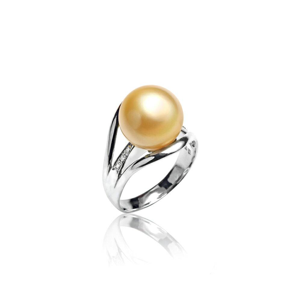 大東山珠寶 奢豪天際 南洋金珠頂級真鑽18K白金戒指 1