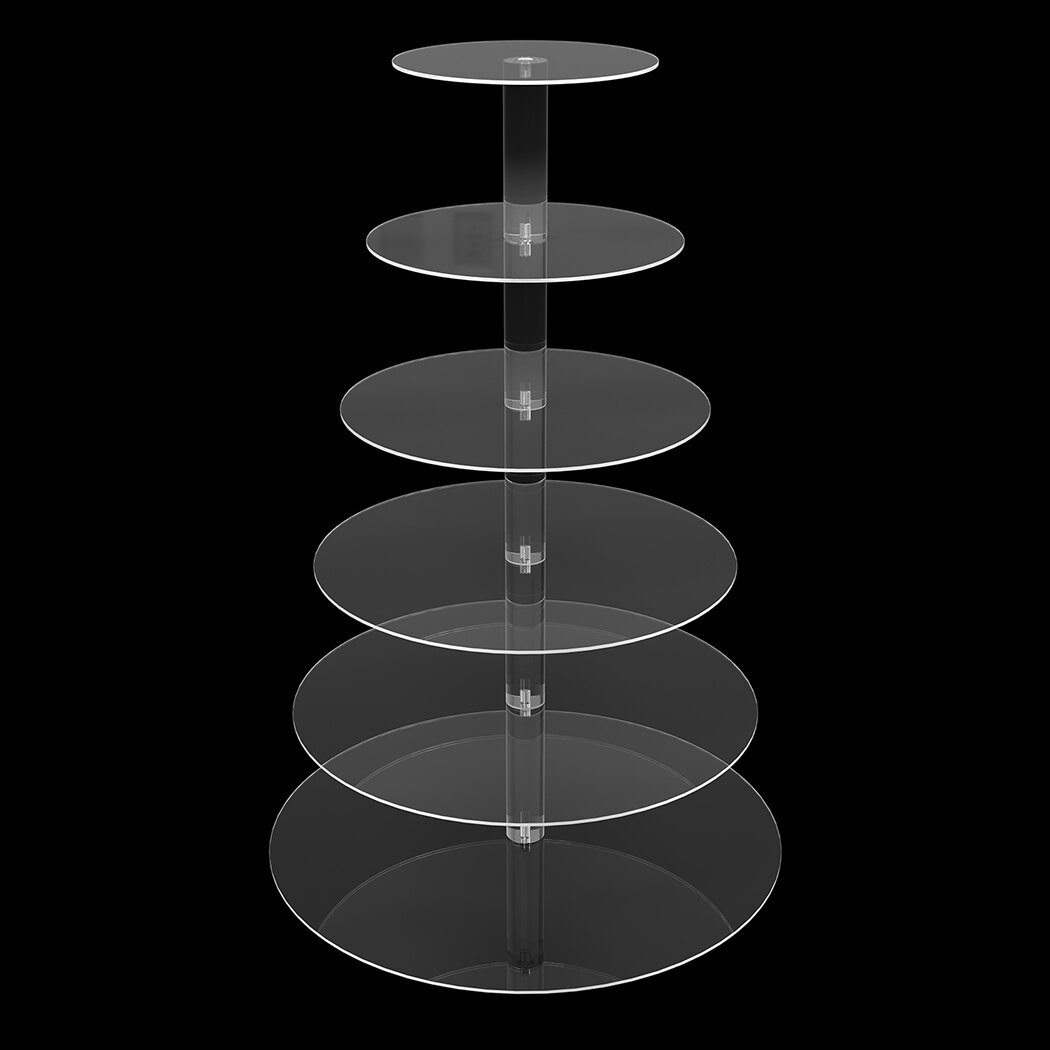 6 Tier Acrylic Round Transparent Cake Stand For Wedding Party Birthday Display 4