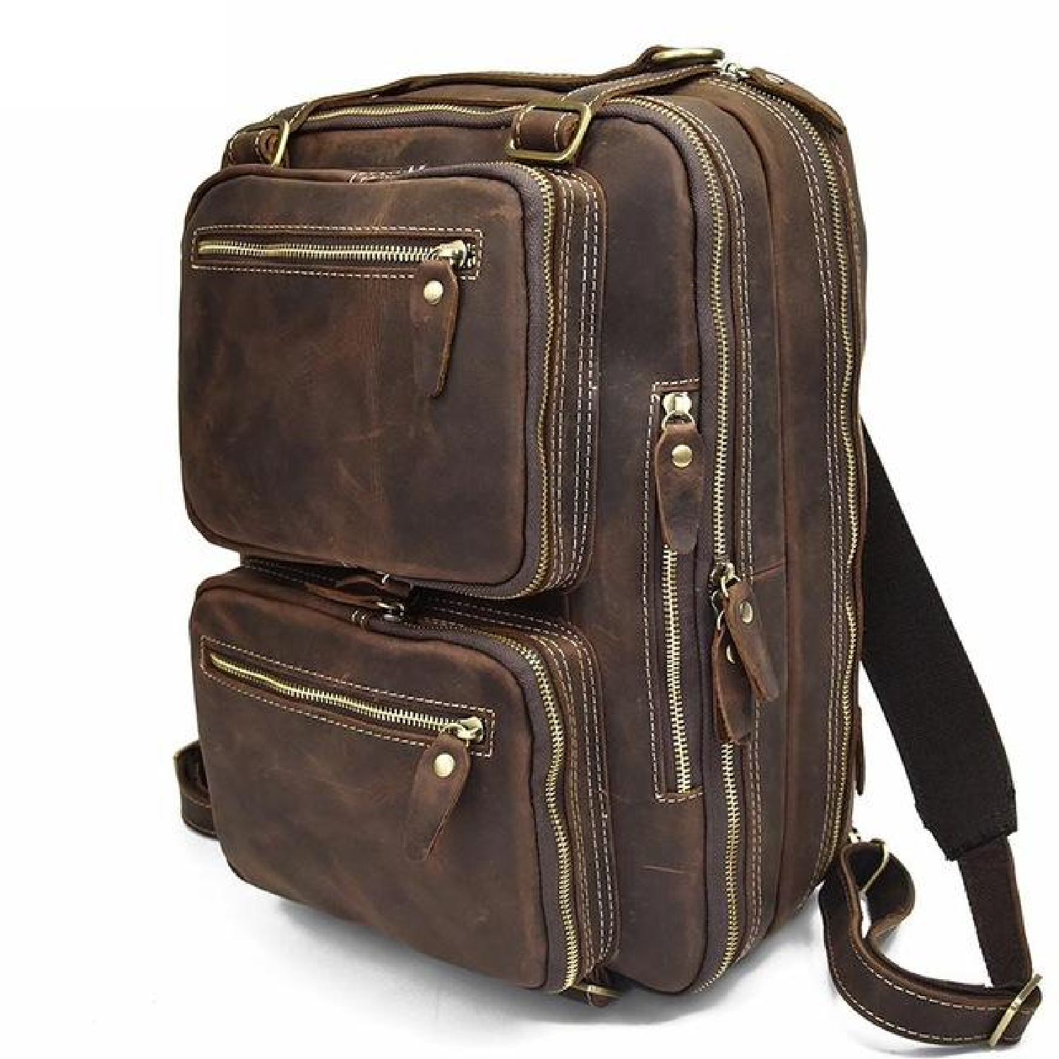 495579ccd Backpack Laptop Bag Leather Rucksack Men Travel School Shoulder Vintage Mens  Genuine Messenger New Camping backpacks