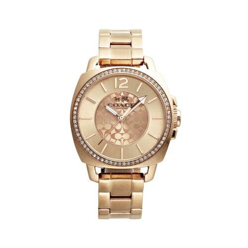 COACH 甜美LOGO帶鑽時尚腕錶/玫瑰金/14502149