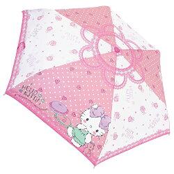 三麗鷗 凱蒂貓 Hello Kitty彎曲把手 折傘 雨傘 摺疊傘 附傘套 53CM 日本進口正版 060896