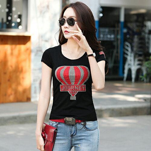 韓國修身顯瘦圓領燙鑽印花T恤(2色S~3XL)*ORead* 1