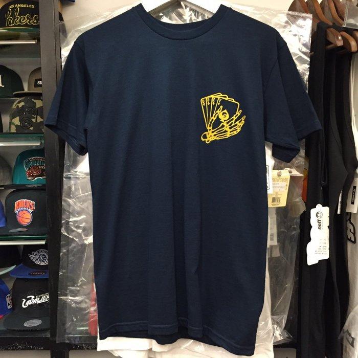 BEETLE PLUS 西門町經銷 全新 美國品牌 OBEY DEATH CARD 死亡卡 骷髏 撲克牌 深藍 藍黃 短袖 TEE 163081070NVY OB-403 0