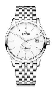 TITONI瑞士梅花錶天星系列83638S-606簡約經典腕錶銀40mm