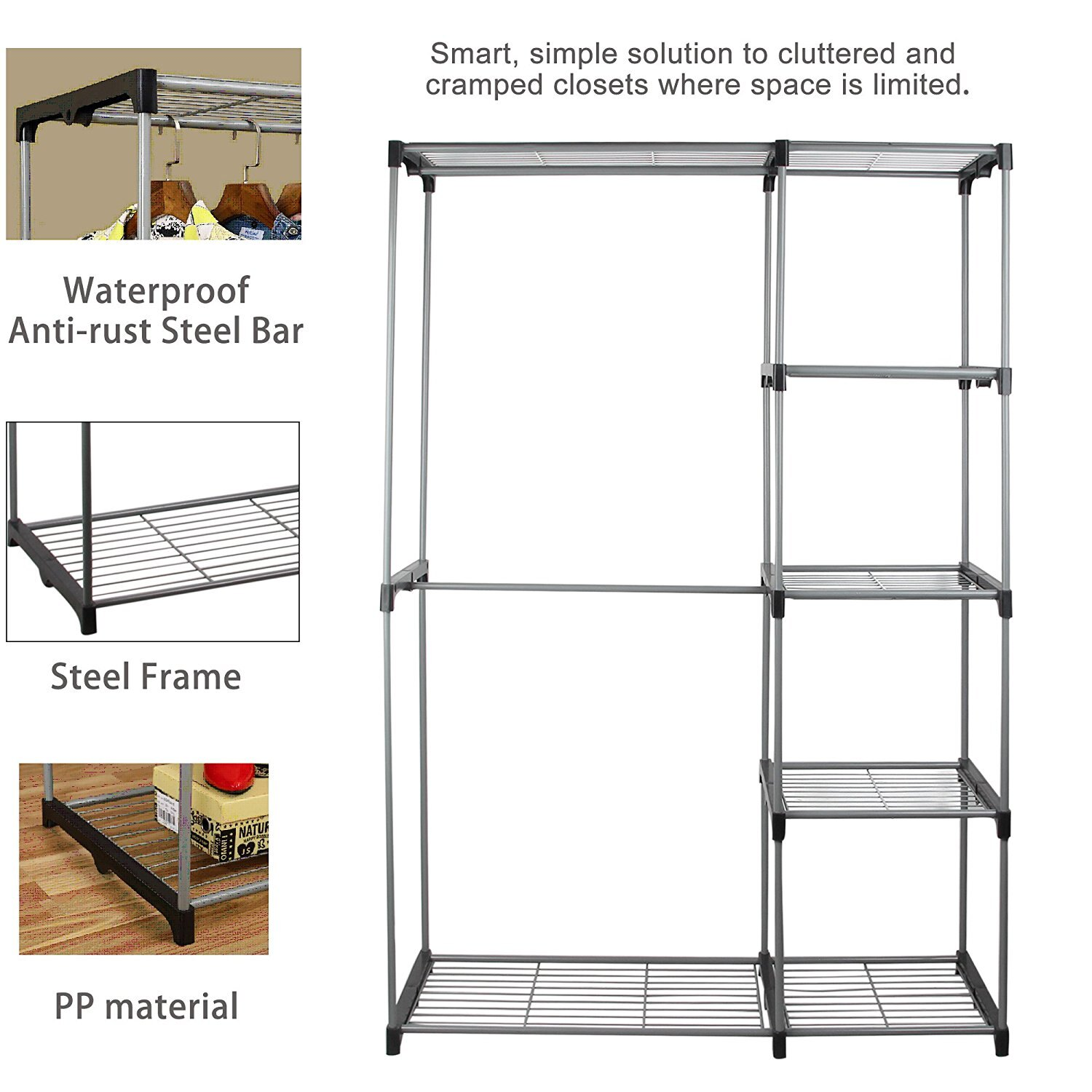 Double Rod Portable Clothes Storage Rack Freestanding Closet Wardrobe with Steel and Plastic Frame CL68 2