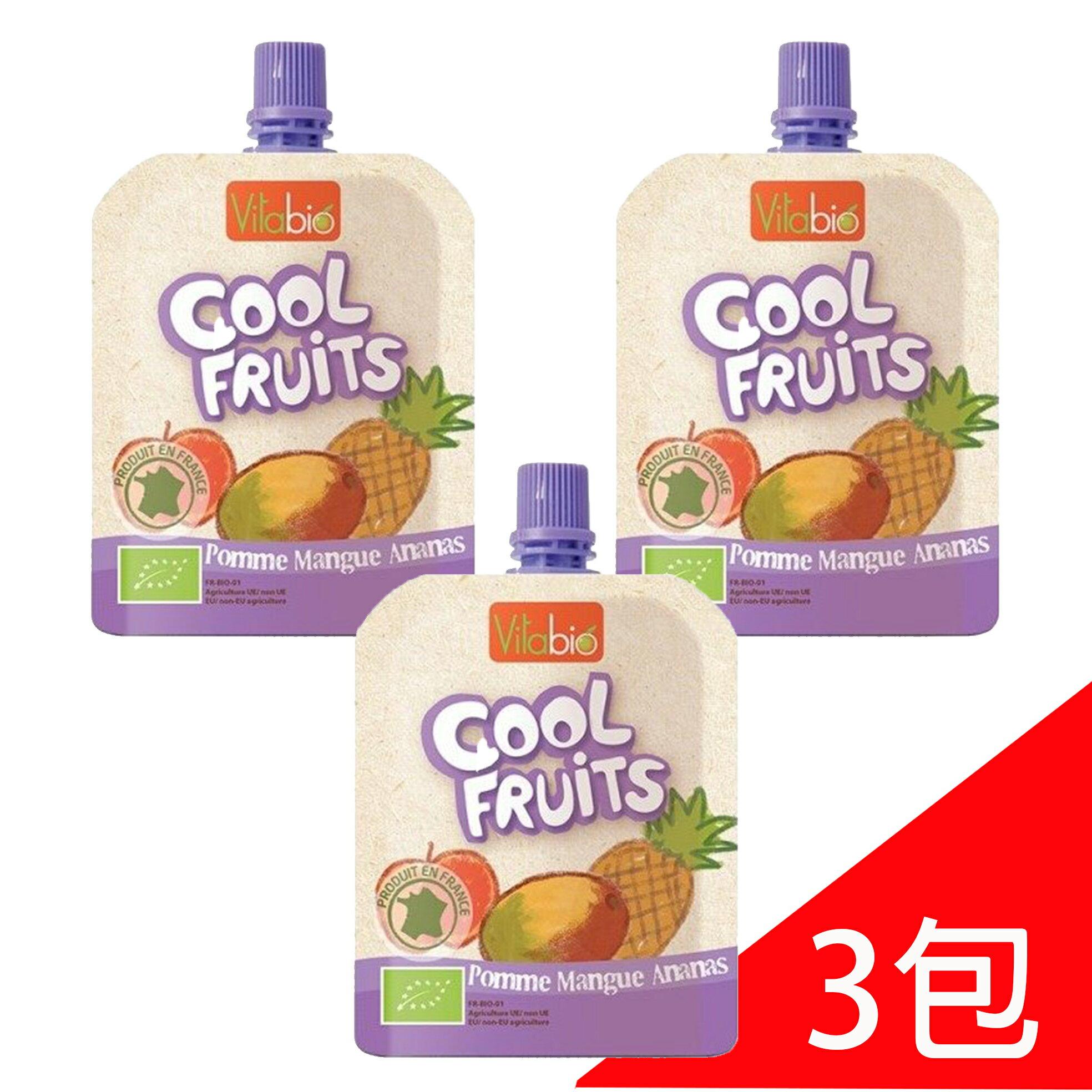 VITABIO 有機優鮮果-蘋果、芒果、鳳梨90g(12個月以上)  3包『121婦嬰用品館』