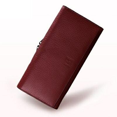 長夾真皮手拿包-純色簡約多功能大容量女皮夾2色73rs8【獨家進口】【米蘭精品】