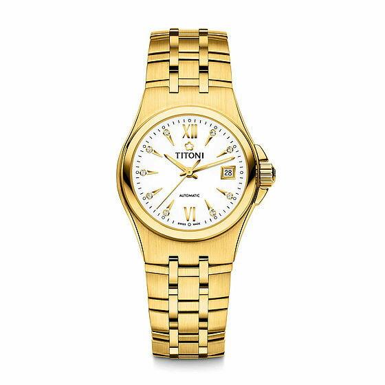 TITONI瑞士梅花錶動力系列23730G-271自動機芯時尚腕錶金銀27mm