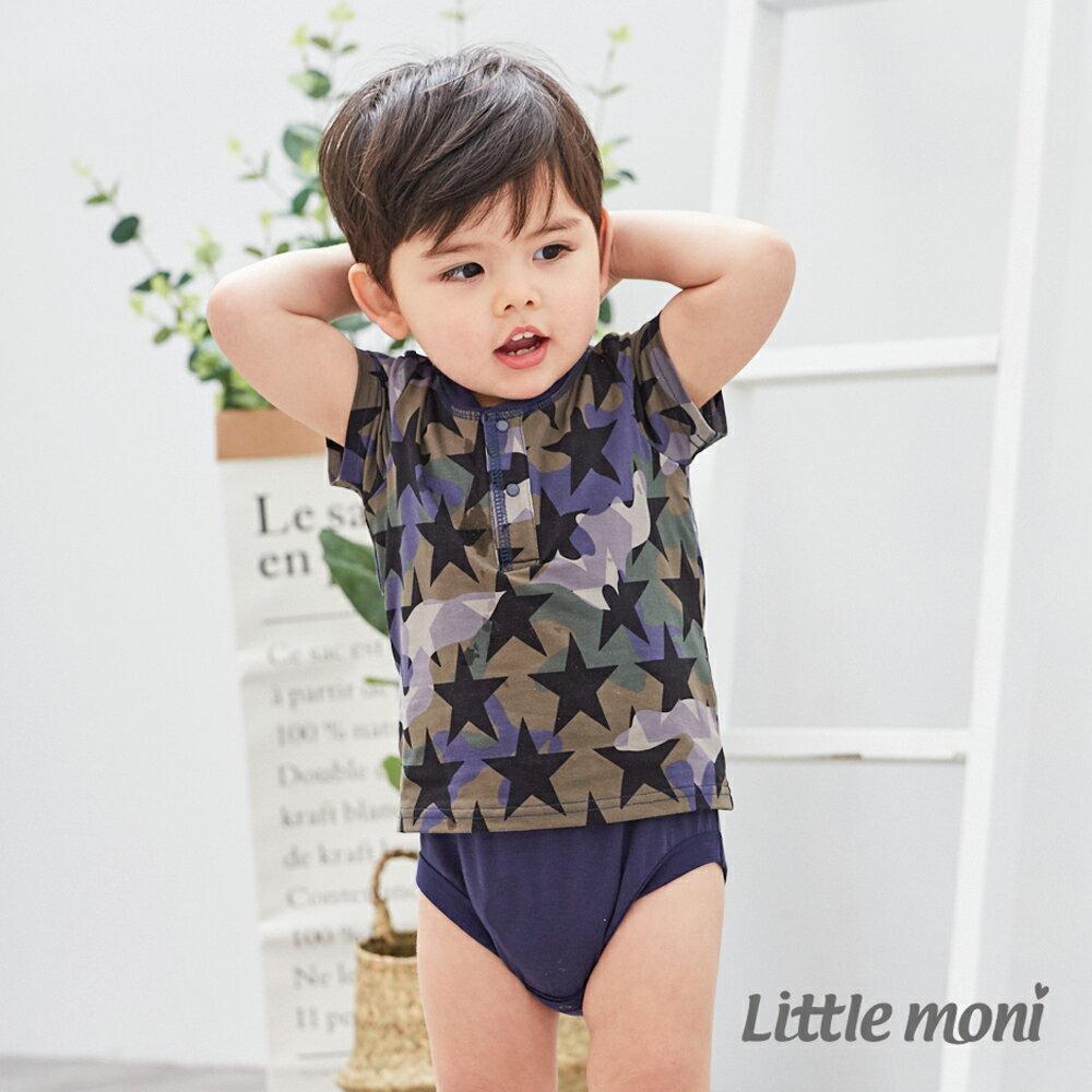 Little moni 迷彩短袖包屁衣-軍綠