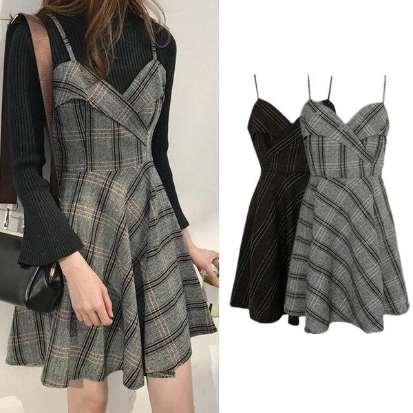 洋裝韓國V領格子收腰吊帶裙【D3453】☆雙兒網☆