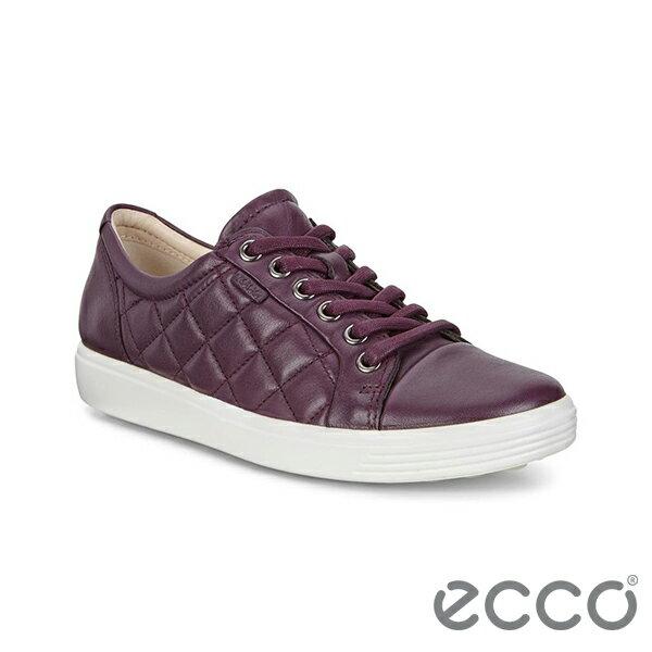 【ECCO 新品上市85折│全店免運】ECCO SOFT 7 LADIES 女款綁帶菱格休閒鞋/深紫 -43008301276