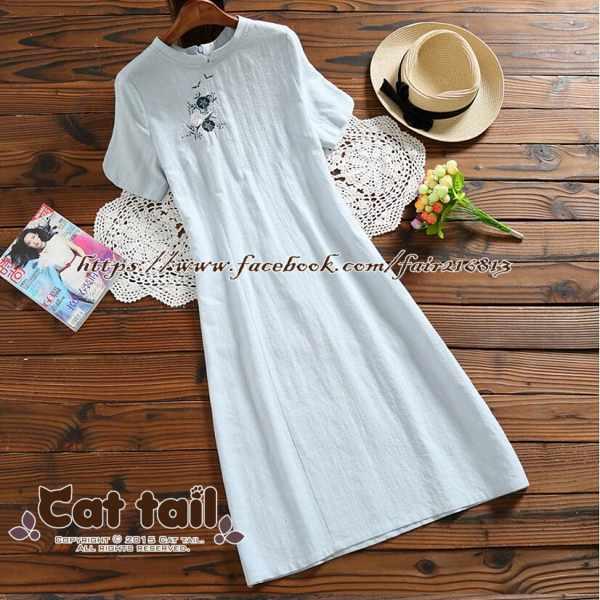 《貓尾巴》TS-0753中國風改良款旗袍短袖連身裙(森林系日系棉麻文青清新)