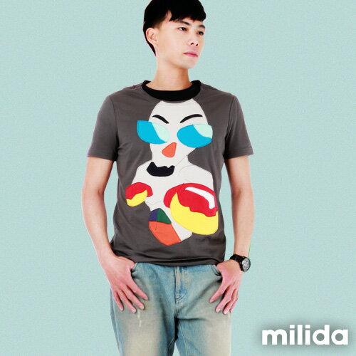【Milida,全店七折免運】男生款-舒適圓領拼貼T恤 4