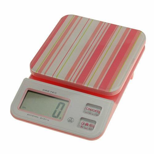 日本 DRETEC 多利科 幾何圖形料理電子秤 KS-221-PK粉色款
