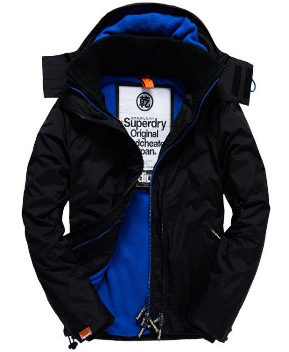 『現貨下殺出清』極度乾燥 Superdry 白標 三層拉鍊連帽防風外套 防潑水機能 男款 黑色/寶藍色
