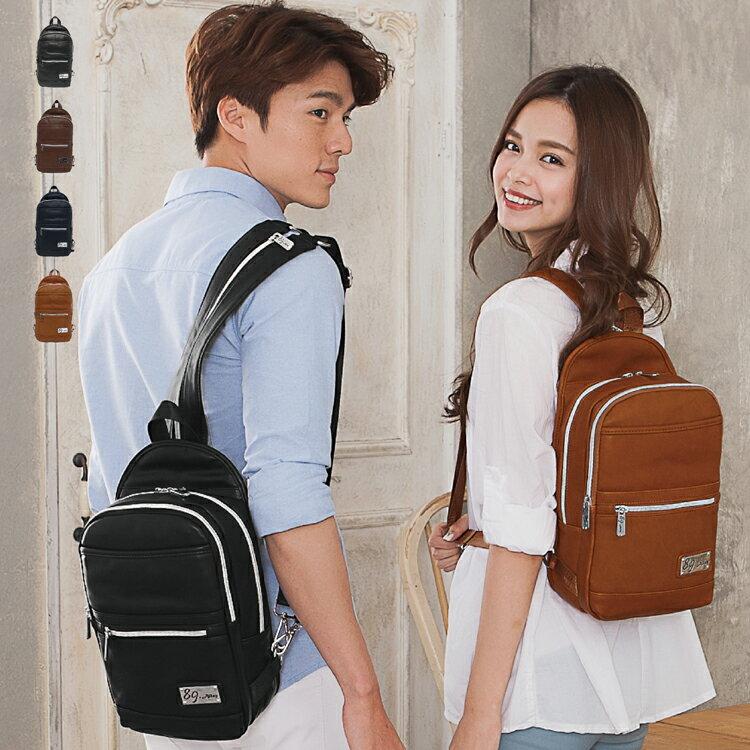 後背包 二用 女包男包 獨家品牌耐磨皮革 多功能雙層情侶單肩斜背包 89.Alley ☀4色 HB89171 0