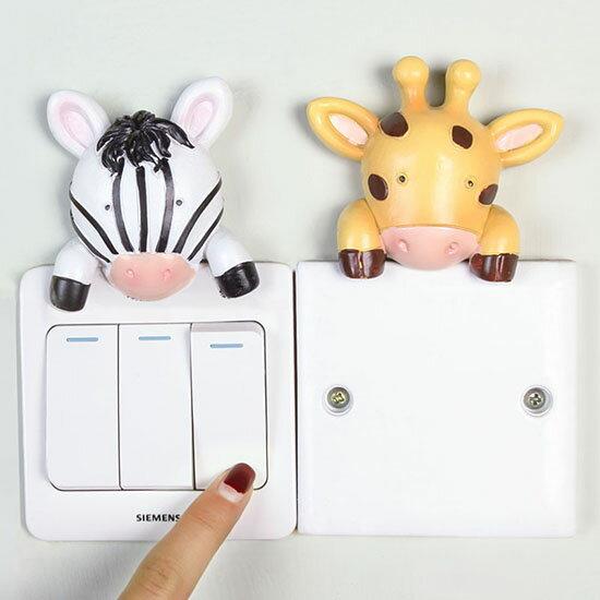 ♚MYCOLOR♚趣味卡通動物開關貼牆貼創意樹脂動物保護套臥室開關套插座【P96】