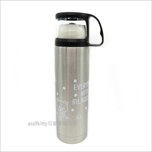 asdfkitty可愛家☆日本san-x拉拉熊水玉不鏽鋼保溫水壺附杯子-450ML-日本正版商品