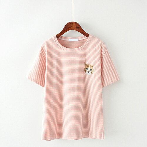 卡通貓咪刺繡條紋棉質圓領短袖T恤(4色F碼)【OREAD】 1