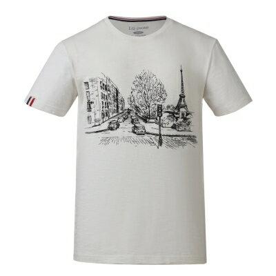 Laproie男式休閒文化衫-雲白