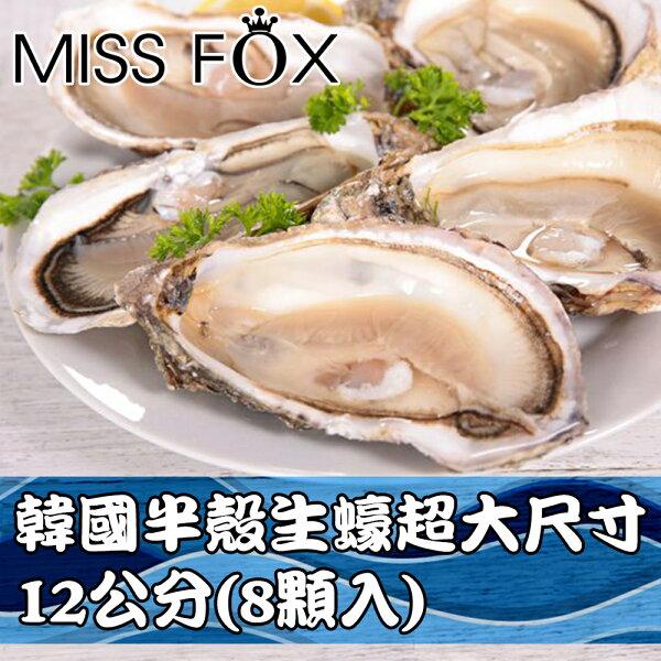 Hello!Miss Fox:XXL韓國半殼生蠔超大尺寸12公分以上~保證每口都滿足!8顆入IC0014