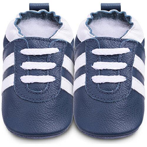 【hella 媽咪寶貝】英國 shooshoos 安全無毒真皮手工鞋/學步鞋/嬰兒鞋_海軍藍/白鞋帶運動型_101070 (公司貨)