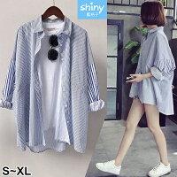 【V2510】shiny藍格子-百搭休閒.條紋前短後長寬鬆中長款襯衫外套-shiny藍格子-流行女裝推薦