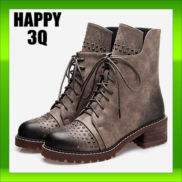 英倫龐克金屬鉚釘綁帶側拉鍊低跟馬丁短靴軍靴~淺灰  卡其35~40~AAA0823~