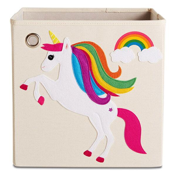 美國kaikai&ash收納箱-彩虹獨角獸摺疊收納箱玩具收納箱整理箱設計風棉麻不織布