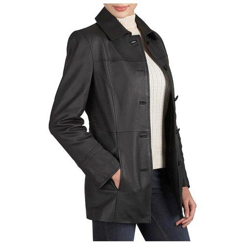 "BGSD Women's ""Megan"" Button Front New Zealand Lambskin Leather Car Coat 1"