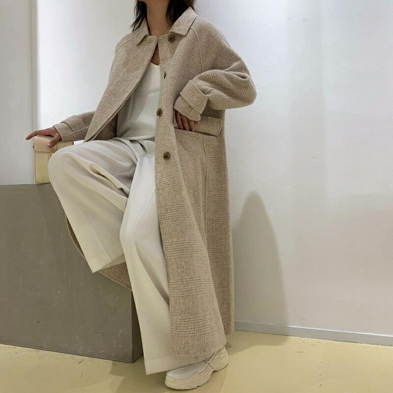 毛呢大衣羊毛外套-長版翻領暗扣寬鬆女外套2色73wb6【獨家進口】【米蘭精品】 2