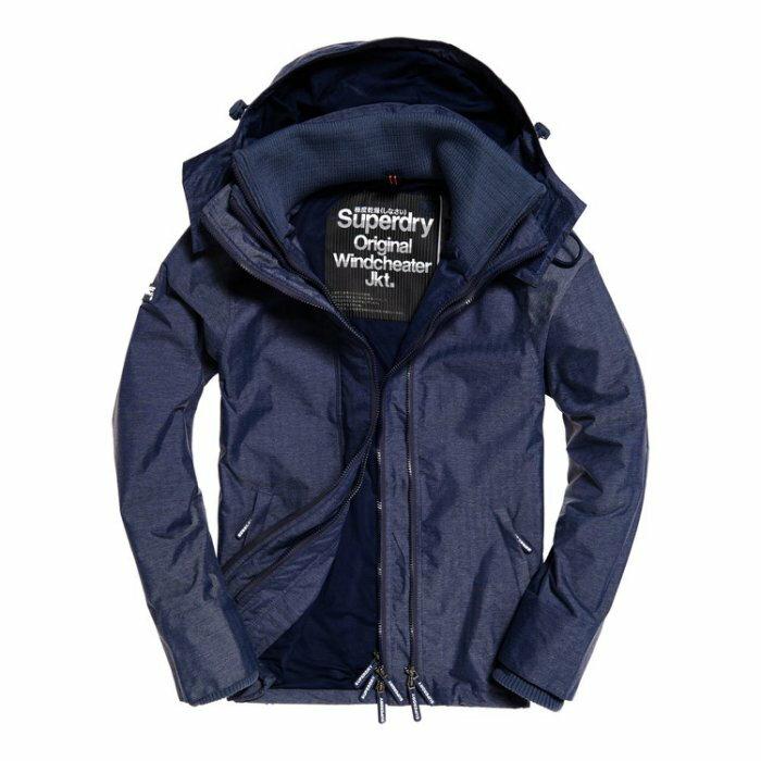 美國百分百【Superdry】極度乾燥 Technical 風衣 連帽外套 防風夾克 網眼 墨水藍 大尺碼 I757