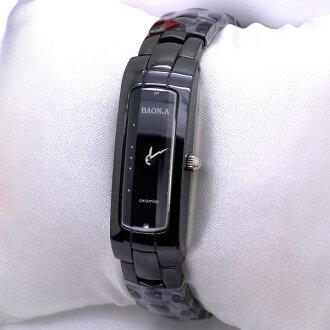 《好時光》BAONA 專櫃品牌 高精密全陶瓷 手環造型腕錶 原廠公司貨 藍寶石水晶鏡面 黑 白