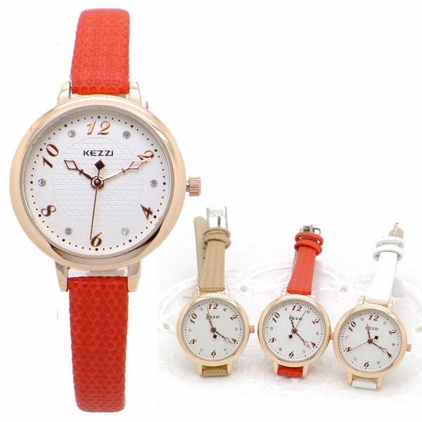 ~好時光~香港品牌 KEZZI 玫瑰金框 格文面 晶鑽簡約數字 氣質細錶帶 女錶 ~  好