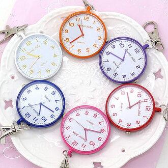 《好時光》圓形繽紛馬卡龍色造型時鐘鑰匙圈小掛錶