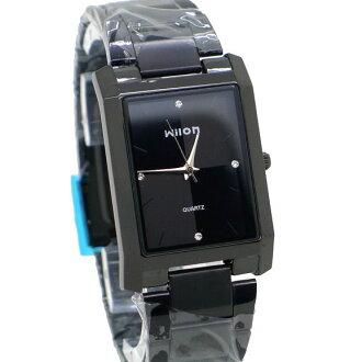 《好時光》Wilon 激似ck 黑色高質感簡約設計長方形幾何面板晶鑽時刻潮流男錶 女錶 對錶 -單支價格