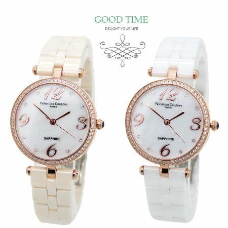 ~好時光~薄型 玫瑰金色晶鑽框 珍珠貝面 簡約數字 高精密陶瓷錶 女錶~水晶鏡面 粉紅 白