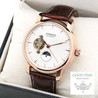 《好時光》JUNMING 玫瑰金色 經典時刻 似陀飛輪 日夜星辰 自動機械錶 背面鏤空 男錶-皮錶帶